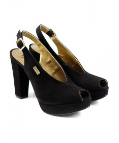Sandálias de Senhora Pretas de Corte Elegante Ginova