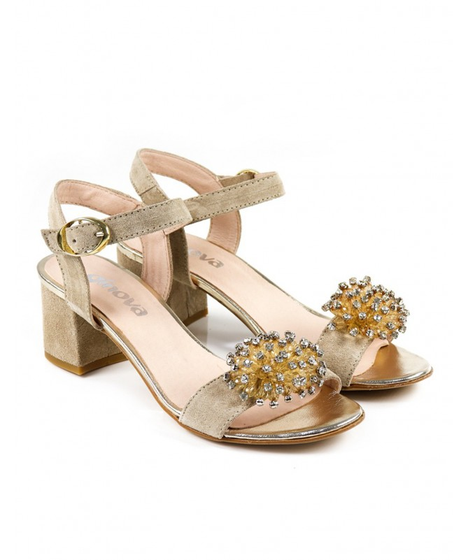Sandálias Beges de Senhora Ginova com Aplicação
