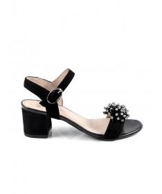 Sandálias Pretas de Senhora Ginova com Aplicação