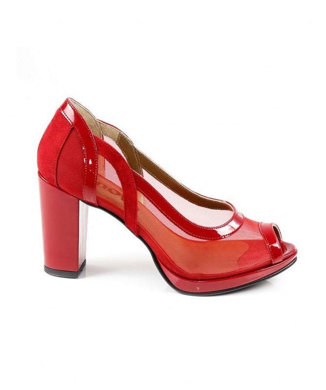 Sapatos de Senhora Vermelhos de Tacão com Transparência Ginova