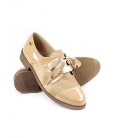 Sapatos de Senhora Ginova em Taupe com Atacadores em Cetim