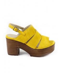 Sandálias Amarelas de Senhora Ginova Compensadas