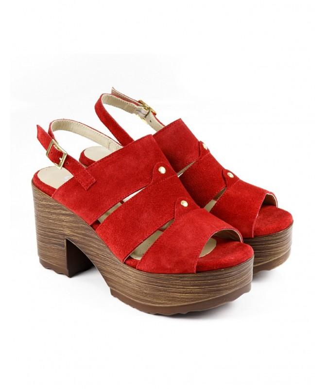 Sandálias Vermelha de Senhora Ginova Compensadas