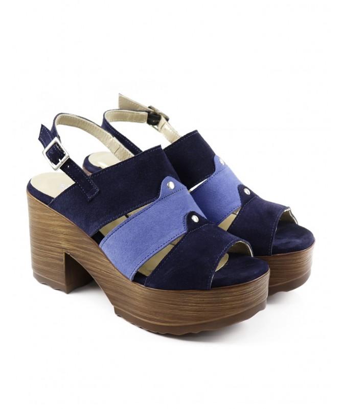 Sandálias Azul de Senhora Ginova Compensadas