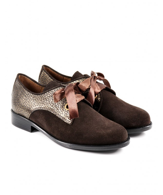 Sapatos Castanhos Rasos de Mulher Ginova com Laço de Cetim