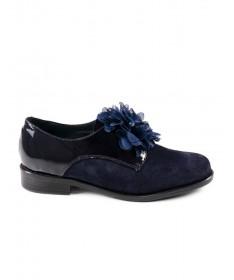 Sapatos Azuis Rasos Ginova com Aplicação de Flor