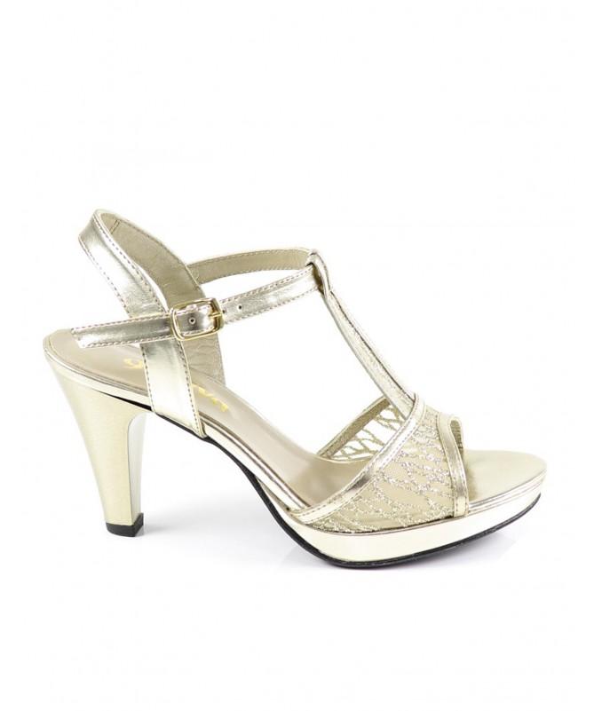 Sandálias Douradas de Senhora Ginova com Brilho Elegante