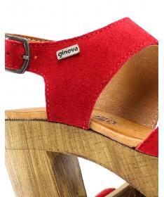 Sandálias Vermelhas de Senhora Compensadas Ginova