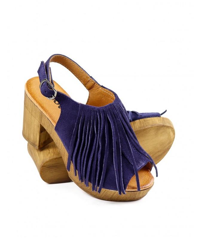 Sandálias Azuis de Senhora Ginova Camurça