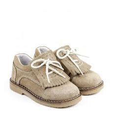 Sapatos Taupe de Criança com Franjas e Atacadores