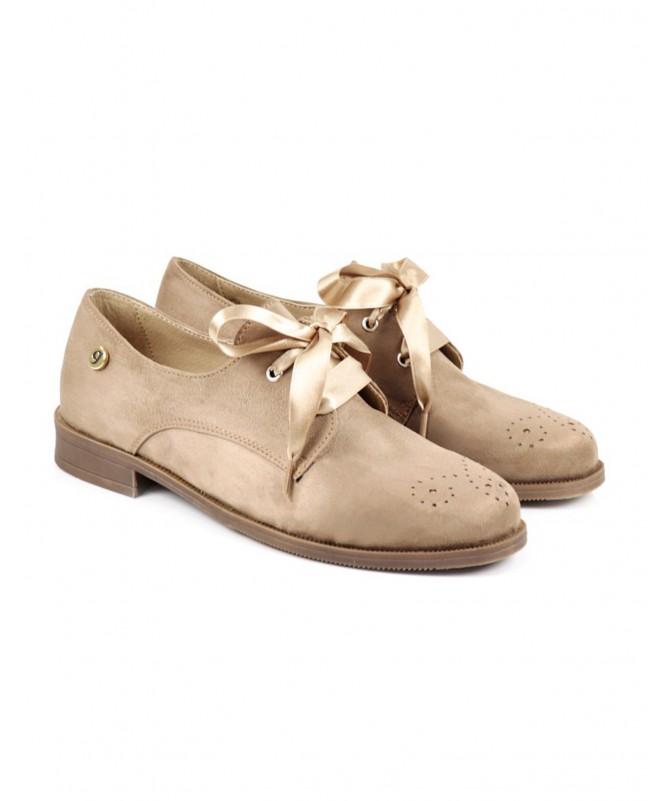 Sapatos de Senhora Ginova Taupe tipo Oxford