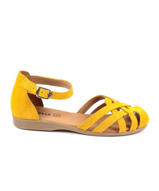 Sandálias Amarelas Rasas Ginova com Tiras Cruzadas Fechadas