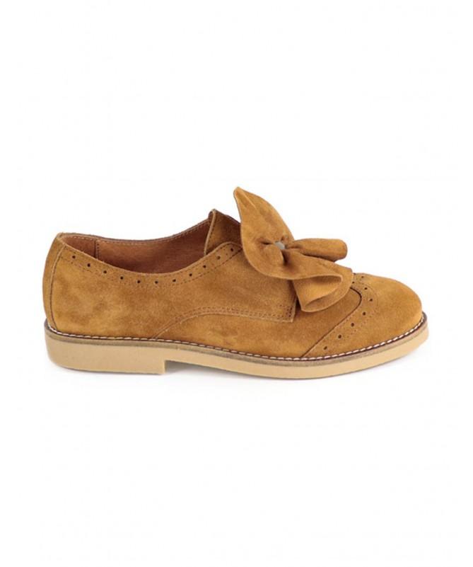 Sapato Camel de Senhora Ginova Tipo Oxford