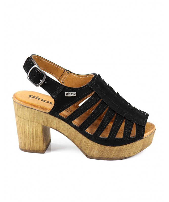 Sandálias Pretas de Senhora Ginova Compensadas