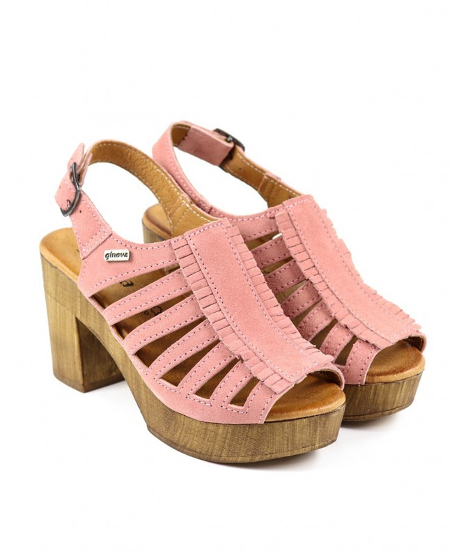 Sandálias Rosa de Senhora Ginova Compensadas