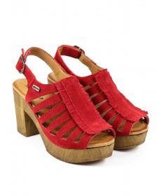 Sandálias Vermelhas de Senhora Ginova Compensadas