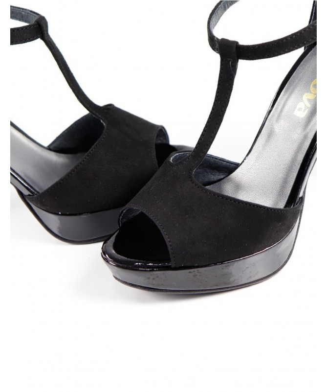 Sandálias de Senhora Elegantes de Cerimónia Pretas Ginova