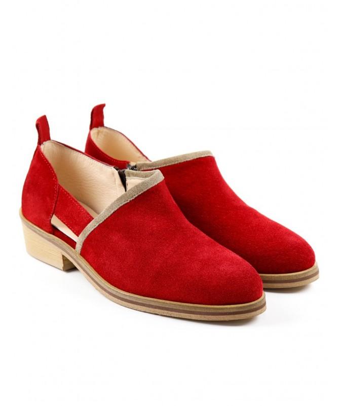 Botins Vermelhas de Senhora Ginova com Corte de Lado