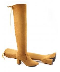 Botas de Senhora Camel Acima do Joelho em Lycra Ginova