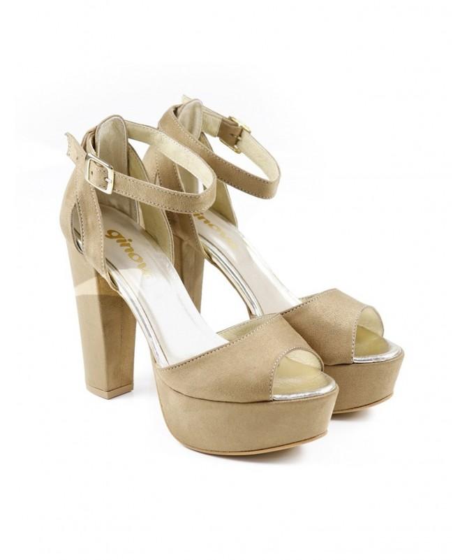 Sandálias de Senhora Taupe Elegantes de Tacão Ginova