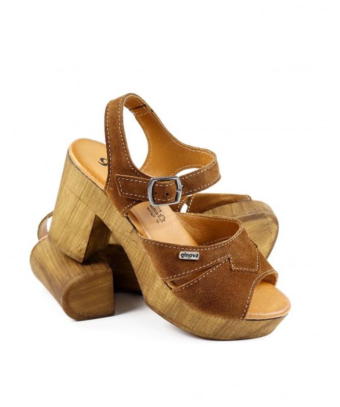 Sandálias Camel Femininas Ginova em Camurça