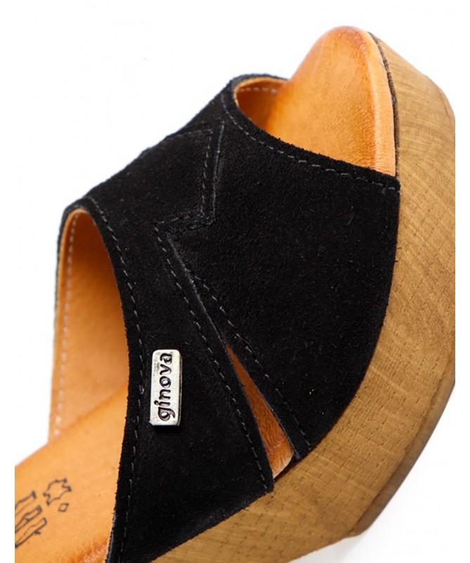 Sandálias Pretas Femininas Ginova em Camurça