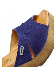 Sandálias Azul Femininas Ginova em Camurça