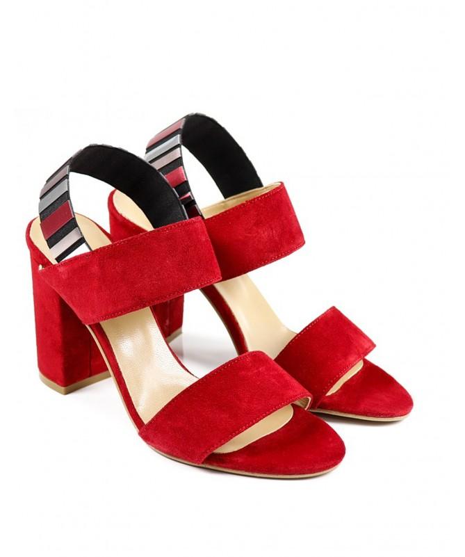 Sandálias Vermelhos Femininas Ginova  Elegante com Elástico