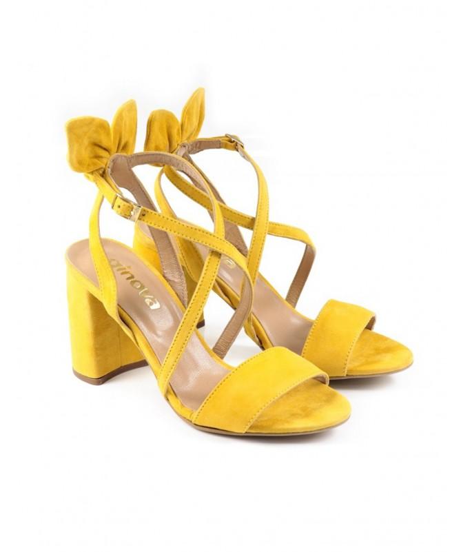 Sandálias de Senhora Amarelas com Laço Atrás e Tiras Ginova