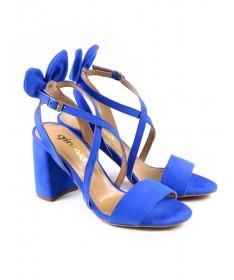 Sandálias de Senhora Azul Elétrico com Laço Atrás e Tiras Ginova
