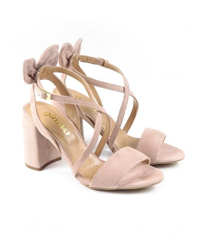 Sandálias de Senhora Nude com Laço Atrás e Tiras Ginova