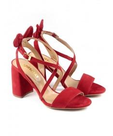 Sandálias de Senhora Vermelhas com Laço Atrás e Tiras Ginova