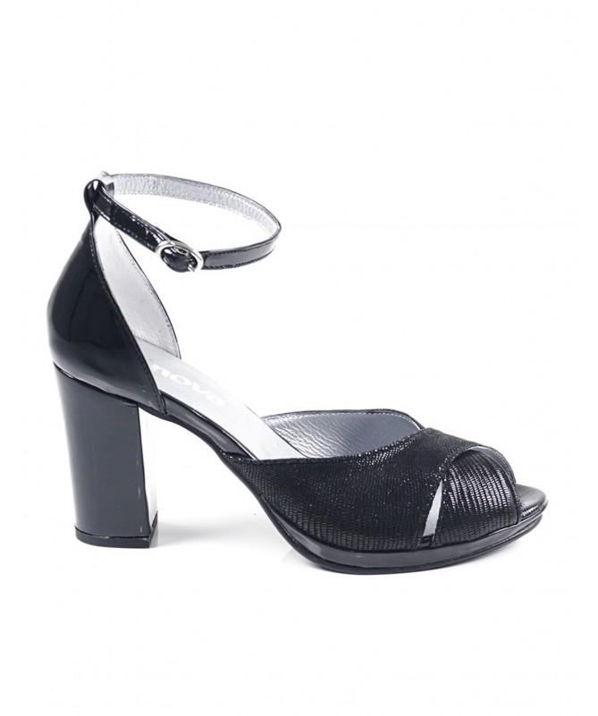 Sandálias Pretas de Senhora Ginova Brilhante de Tacão