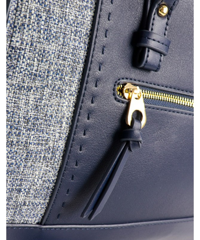 Mala de Mão Azul de Senhora com Detalhe em Tecido