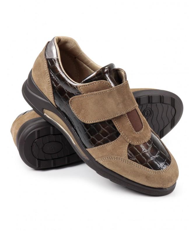 Sapatilhas Taupe Femininas Ginova com Velcro