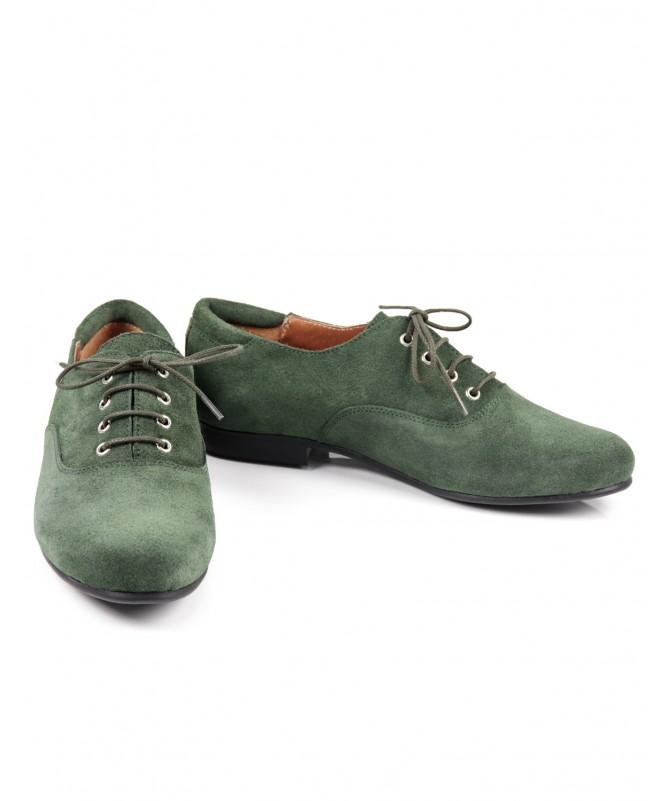 Sapato Verde Raso Ginova com Atacador