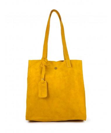Mala Tote Bag Feminina Amarela em Pele