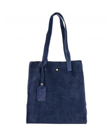 Mala Tote Bag Feminina Azul em Pele