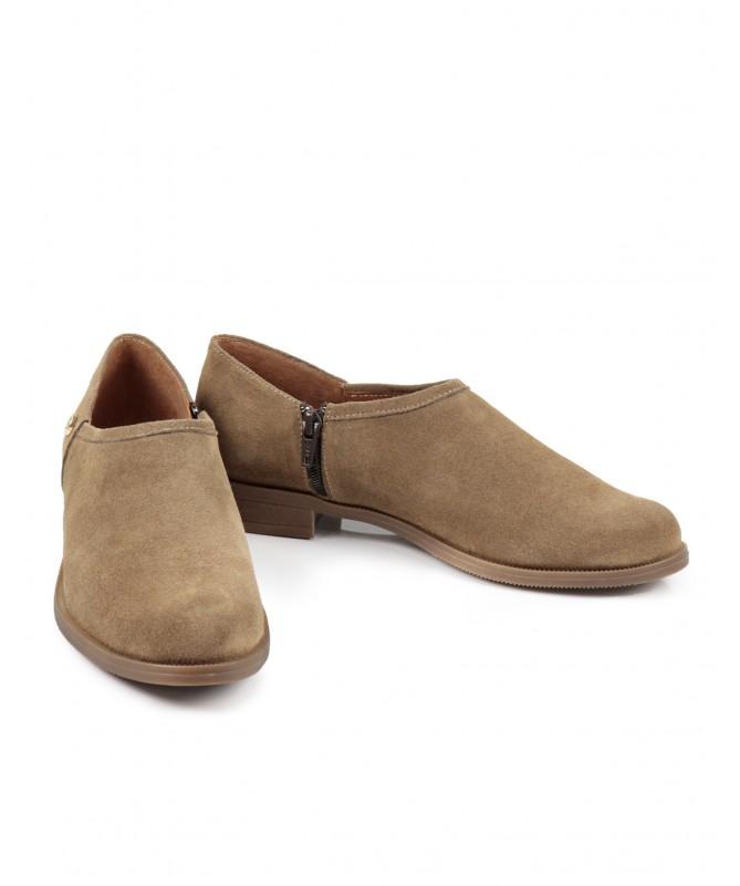 Sapato Taupe Raso Ginova com Fecho