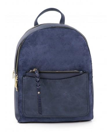 Mochila Azul com Bolsa Frontal