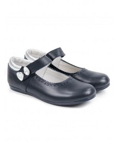 Sapato de menina com Laço Prateada