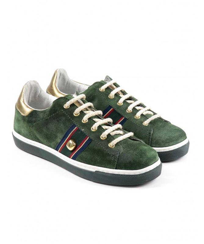 Sapatos de Senhora Verde de Atacadores Dourados