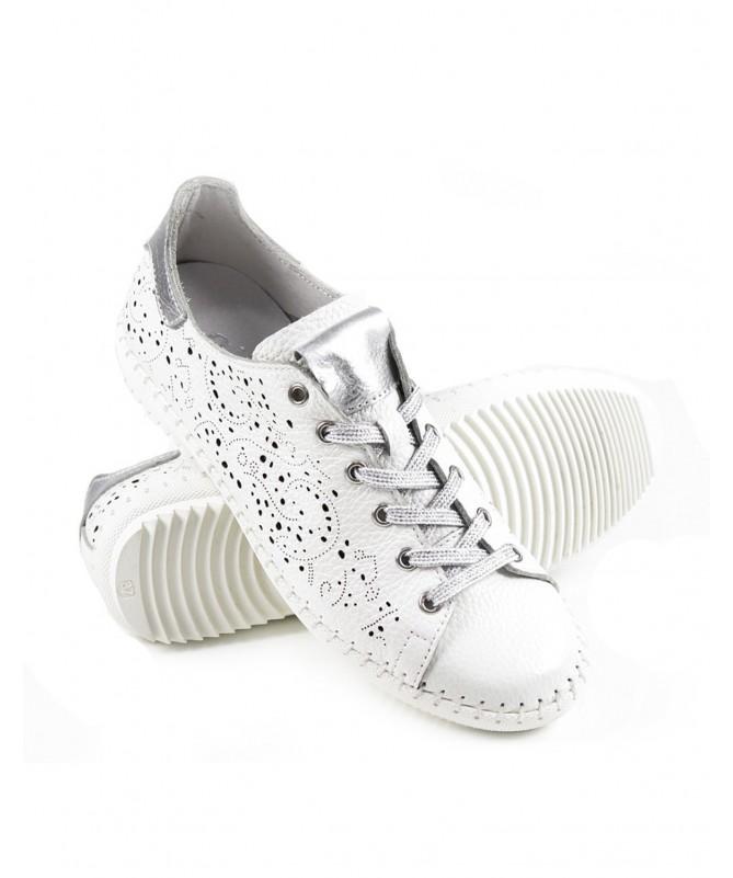 Sapatos de Senhora Perfurados de Atacadores Branco