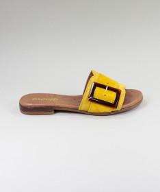 Chinelos Amarelos de Senhora Ginova com Fivela Decorativa