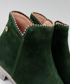 Botas Verde Rasas Ginova com Rebordo Decorado