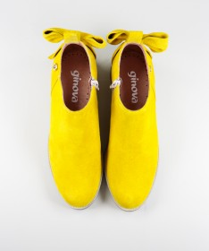 Botas Amarelas Rasas Ginova de Senhora com Laço Atrás