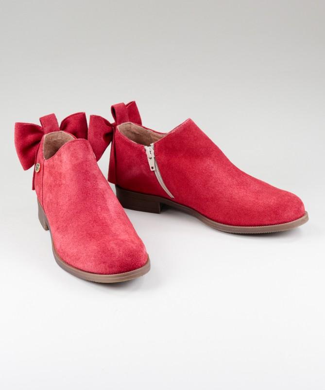Botas Vermelhas Rasas Ginova de Senhora com Laço Atrás