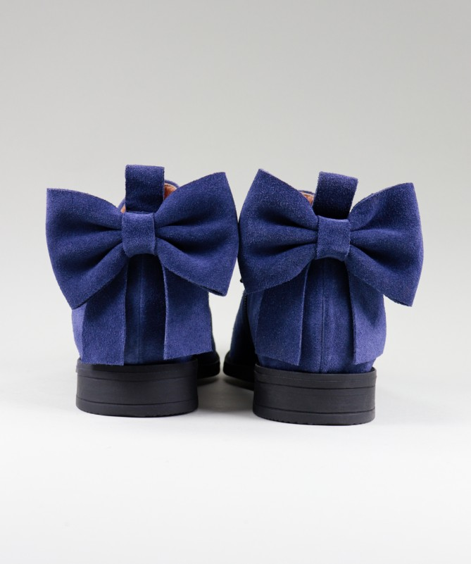 Botas Azuis Rasas Ginova de Senhora com Laço Atrás