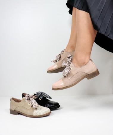 Sapatos Oxford Ginova com Atacadores em Tecido