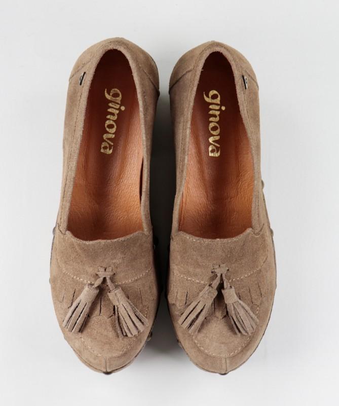 Sapatos Taupe de Senhora Ginova em Sola de Madeira